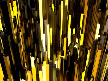 rectangular: Shiny orange rectangular pipe 3d abstract background. Stock Photo