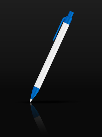 writing instruments: Ballpoint pen on a black background.