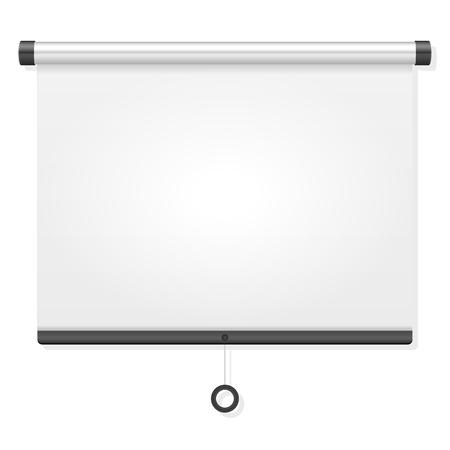 Projectiescherm op een witte achtergrond.