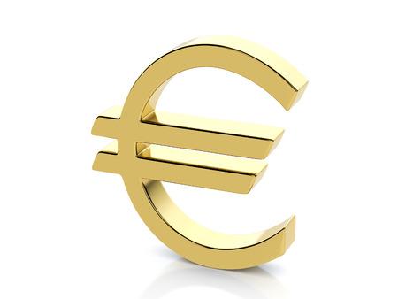 money symbol: Golden euro symbol on a white background.