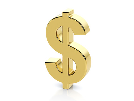 símbolo del dólar de oro sobre un fondo blanco.