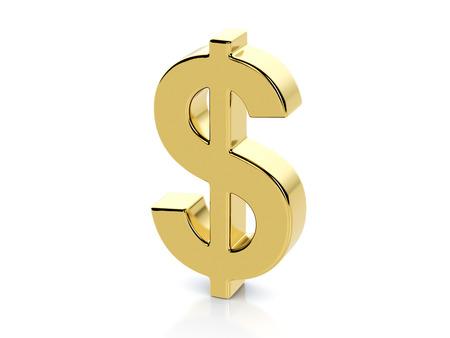 Złoty symbol dolara na białym tle.