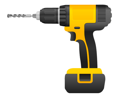 auger: Electric drill and bit on a white background.