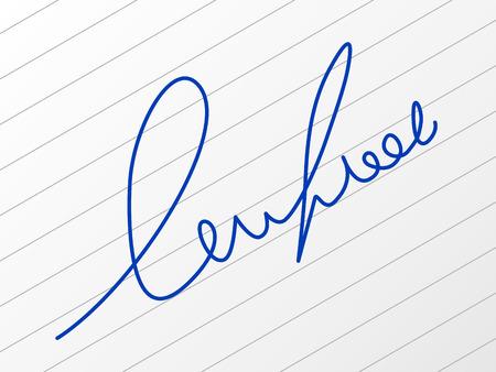 signature: Signature on a sheet of paper. Illustration