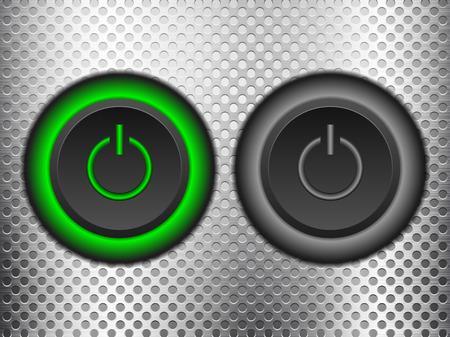 knob: Power button knob on a metal background.
