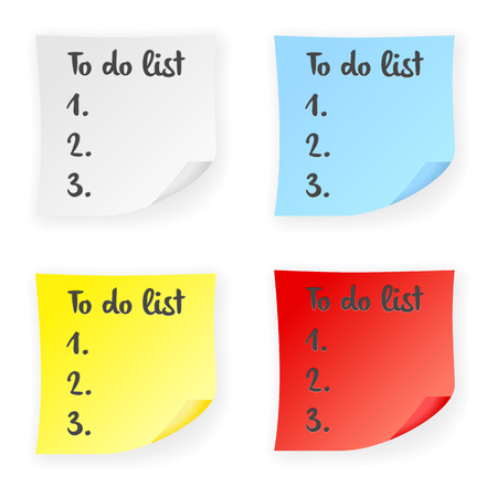 memo pad: Stick note to do list on a white background. illustration. Illustration
