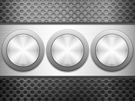 knob: Buttons knob on metal background. Illustration