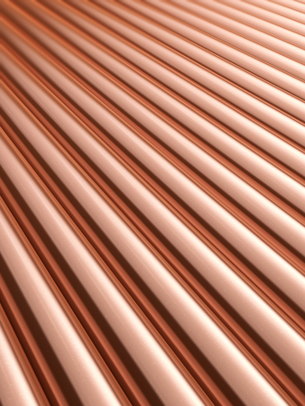 shiny metal background: Stack stainless metal shiny copper pipes. 3D rendering background.