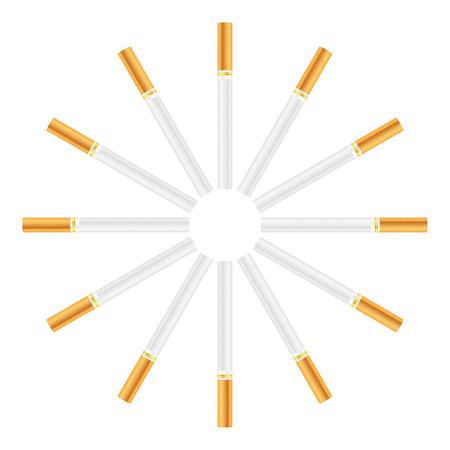 ashes: Cigarette set on a white background. Illustration