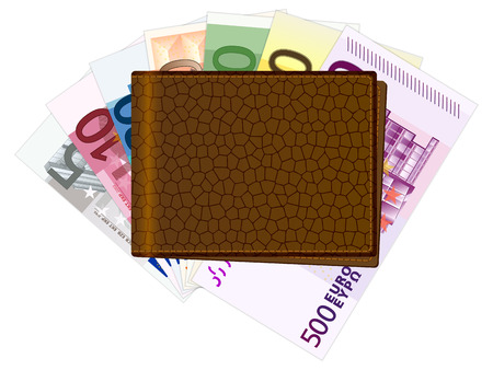 billfold: Wallet with euro banknotes on a white background. Vector illustration. Illustration