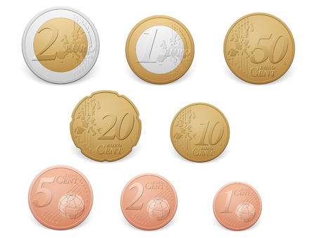 Euro coins set on a white background.