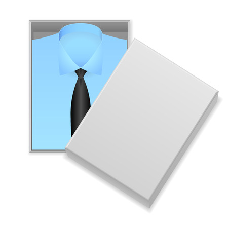 blue shirt: Blue shirt and tie in box on a white background.