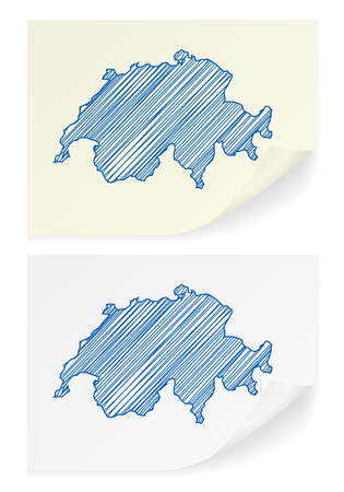 scribble: Switzerland scribble map on a white background.