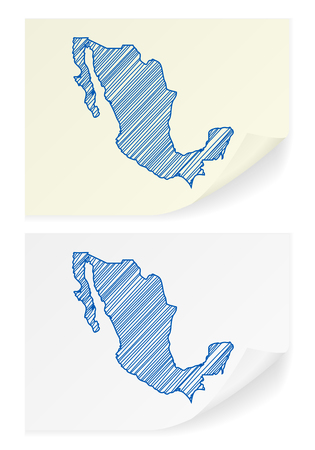 scribble: Mexico scribble map on a white background. Illustration