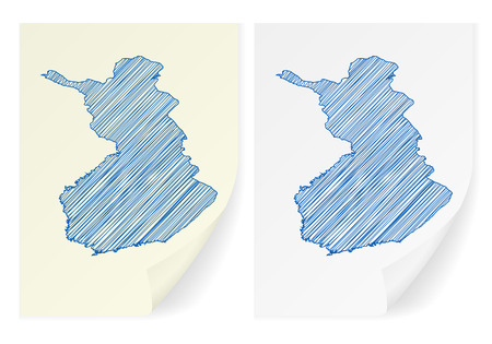 scribble: Finland scribble map on a white background. Illustration