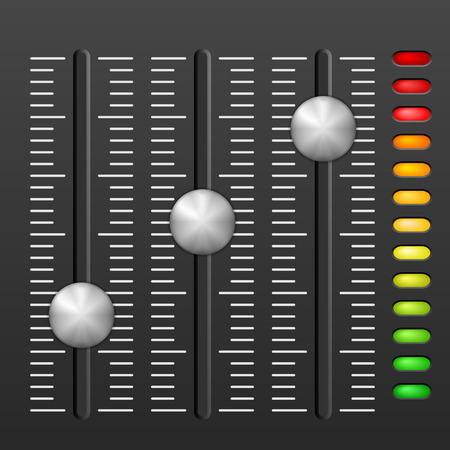 mixing console: Sound mixing console on black background. Illustration