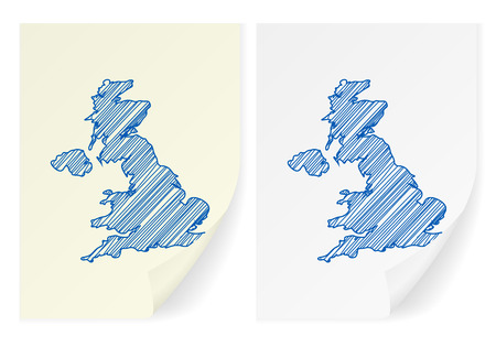 scribble: UK scribble map on a white background. Illustration