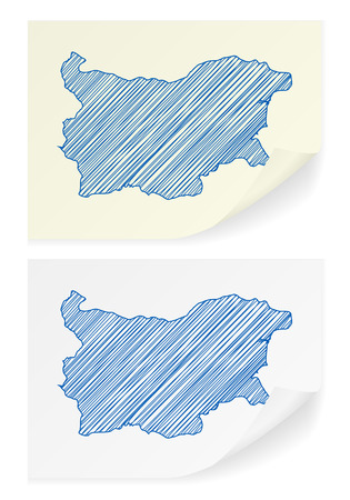 scribble: Bulgaria scribble map on a white background. Illustration