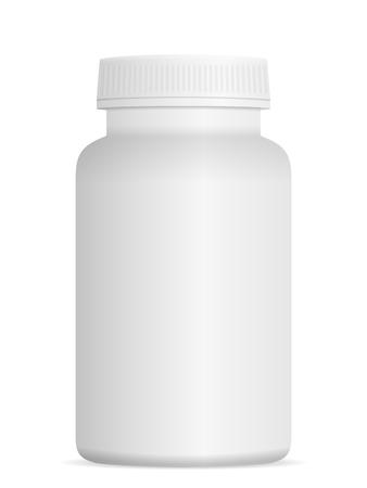 Botella de píldora de la medicina en un fondo blanco.