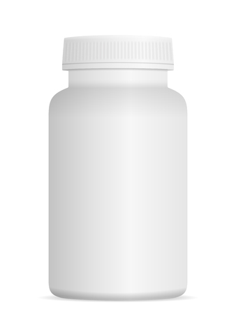 Medicine pill bottle on a white background. Illustration