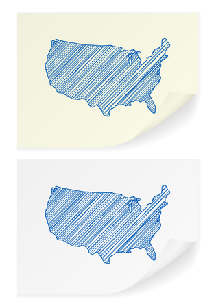 frontier: USA scribble map on a white background. Illustration