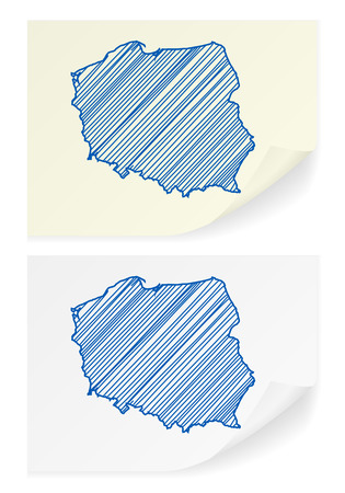scribble: Poland scribble map on a white background. Illustration