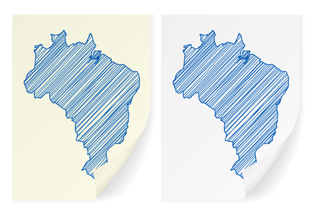 frontier: Brazil scribble map on a white background. Illustration