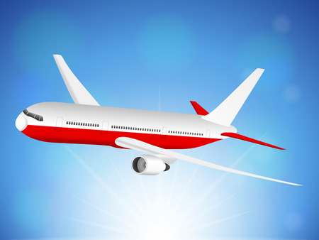 fuselage: Airplane flying on blue sky. Illustration