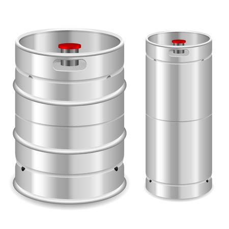 Beer keg set on a white background. Vektorové ilustrace