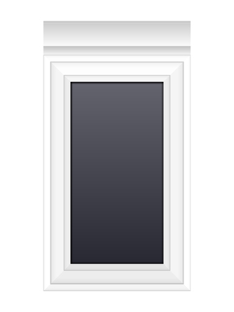 metal frame: Window on a white background.