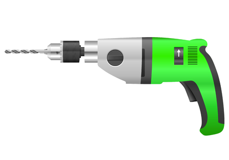electric drill: Electric drill and bit on a white background.
