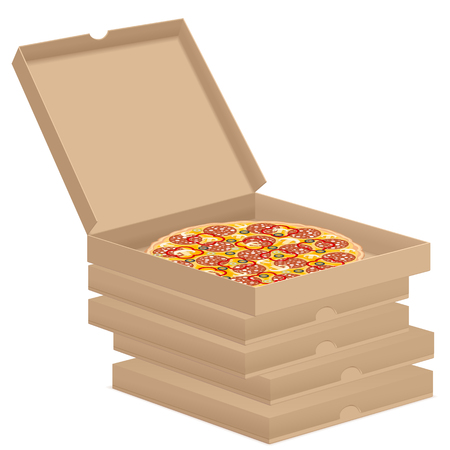 italian sausage: Delicious pizza in box isolated on white background.