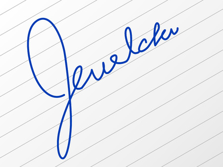 Signature on a sheet of paper. Illustration