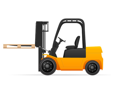fork lifts trucks: Forklift with pallet on a white background. Illustration