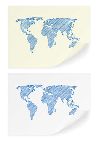 scribble: Scribble world map on a white background.