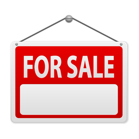 sale sign: For sale sign board on a white background. Illustration