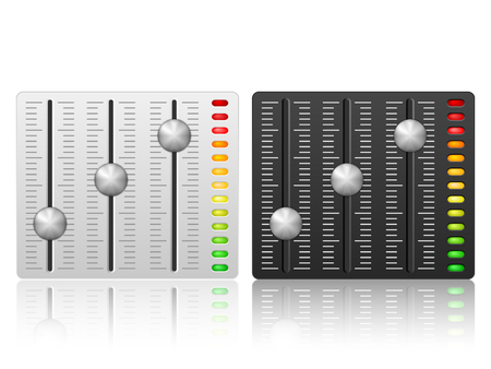 audio: Mixing console icon on a white background. Illustration