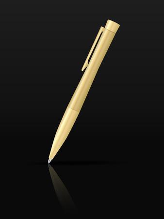 Ballpoint pen on a black background.
