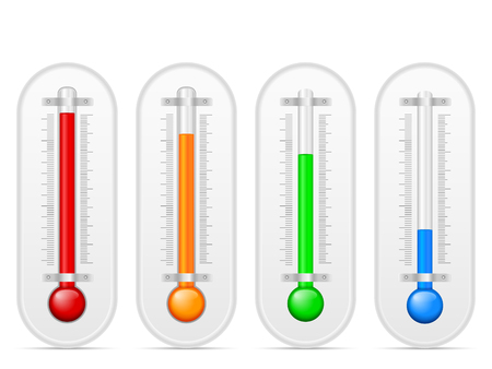 celsius: Thermometer set on a white background. Illustration