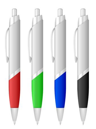 writing instruments: Ballpoint pen set on a white background.