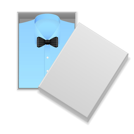 blue shirt: Blue shirt and bow tie in box on a white background.