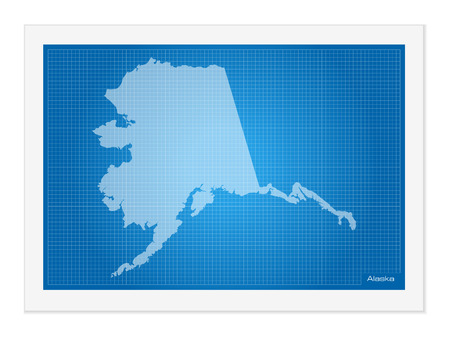 frontier: Alaska on blueprint on a white background.