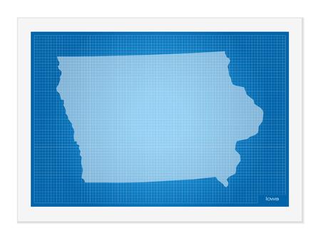 iowa: Iowa on blueprint on a white background.
