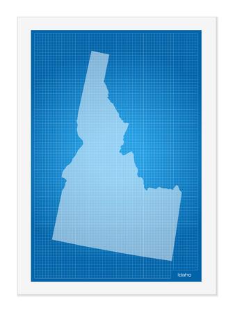 idaho: Idaho on blueprint on a white background. Illustration
