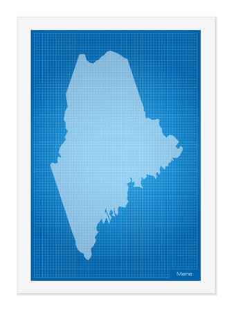 maine: Maine on blueprint on a white background.