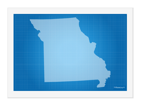 frontier: Missouri on blueprint on a white background.