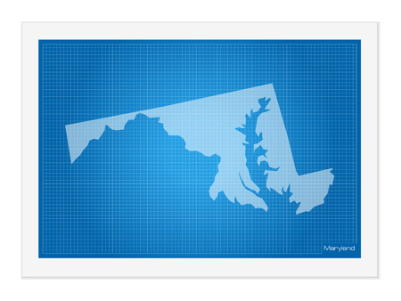 frontier: Maryland on blueprint on a white background.
