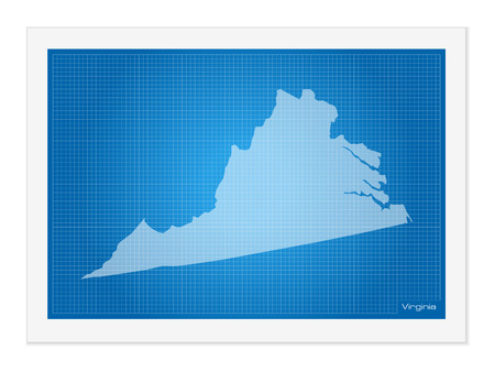 frontier: Virginia on blueprint on a white background.