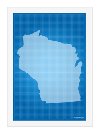 wisconsin: Wisconsin on blueprint on a white background.
