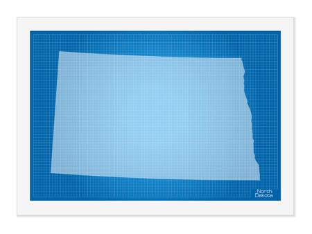 north dakota: North Dakota on blueprint on a white background. Illustration